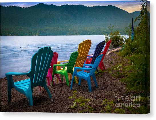 Olympic Peninsula Canvas Print - Lake Quinault Chairs by Inge Johnsson