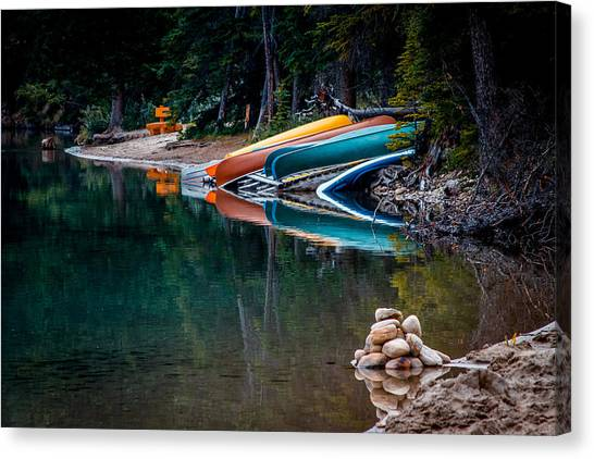 Kayaks At Rest Canvas Print