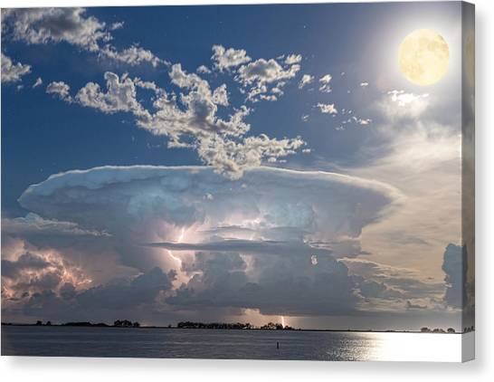 Sky Canvas Print - Lake Side Storm Watching With Full Moon by James BO  Insogna