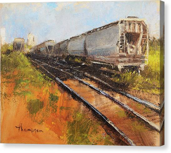 Freight Trains Canvas Print - Lake Street Freight Cars by Tracie Thompson