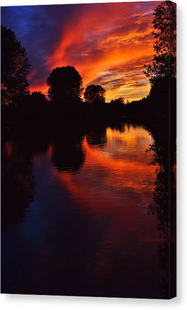 Lake Sunset Reflections Canvas Print