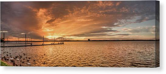 Canvas Print featuring the photograph Lake Sunset by Robert Bellomy