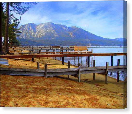 Lake Tahoe At  Camp Richardson Canvas Print by Juliet Mevi-Shiflett
