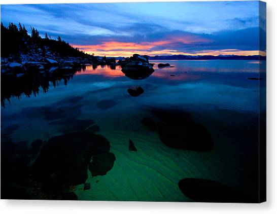 Canvas Print featuring the photograph Lake Tahoe Clarity At Sundown by Sean Sarsfield