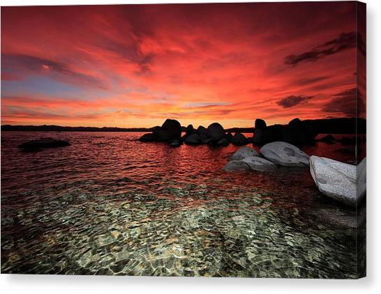 Canvas Print featuring the photograph Lake Tahoe Liquid Dreams by Sean Sarsfield
