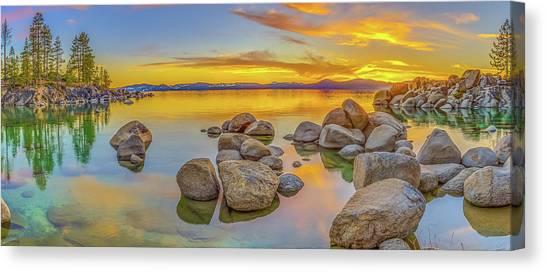 Lake Tahoe Spring Sunset Panoramic Canvas Print