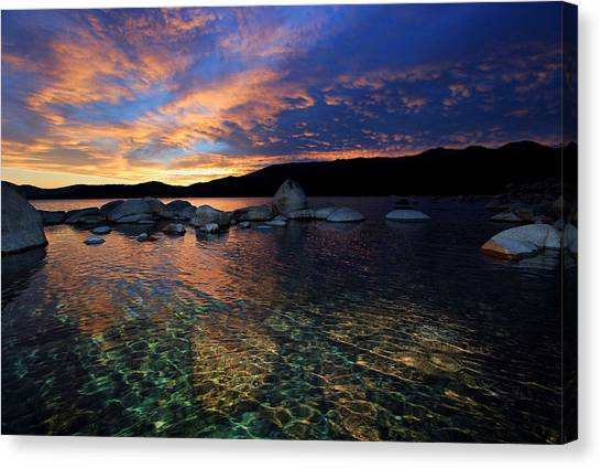 Canvas Print featuring the photograph Lake Tahoe Sundown by Sean Sarsfield