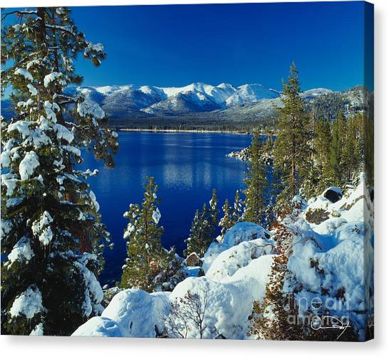 Lake Canvas Print - Lake Tahoe Winter by Vance Fox