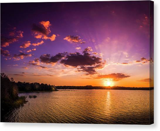 Bass Fishing Canvas Print - Lake Tarpon Sunset by Marvin Spates