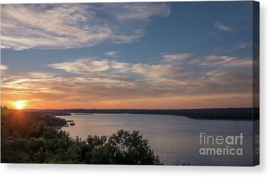 Lake Travis During Sunset With Clouds In The Sky Canvas Print