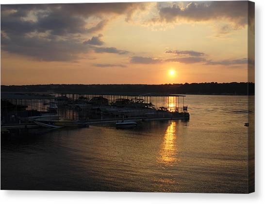 Lake Travis Sunset Over Carlos N Charlies Canvas Print by David Thompson