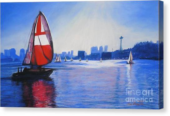 Lake Union And The Red Sail Canvas Print