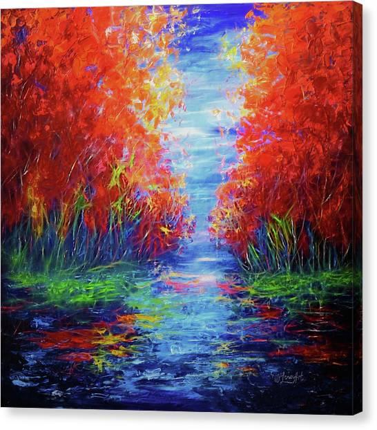 Olena Art Lake View Abstract Artwork Canvas Print