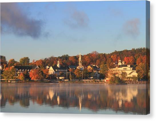 Lake Winnipesaukee Meredith Autumn Morning Canvas Print