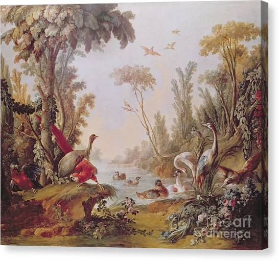 Storks Canvas Print - Lake With Geese Storks Parrots And Herons by Francois Boucher