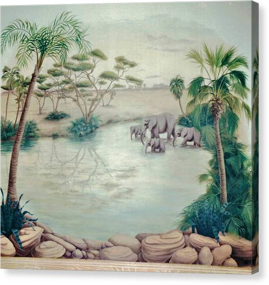 Lake With Oasis And Palm Trees Canvas Print
