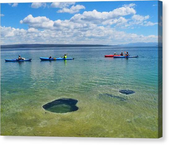 Kayaks Canvas Print - Lakeshore Exploration by Ryan Scholl
