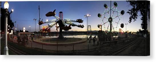 Lakeside Amusement Park At Night Panorama Photo Canvas Print by Jeff Schomay
