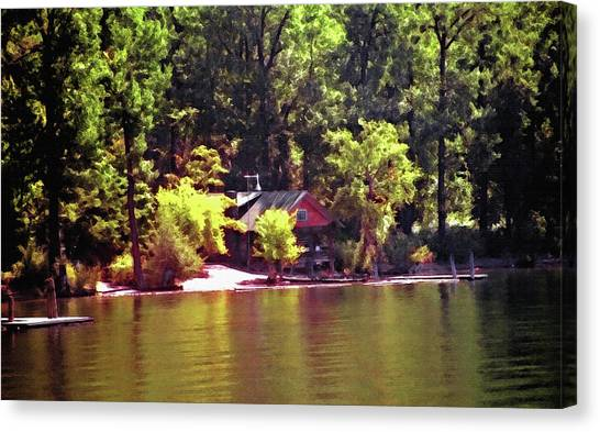 Lakeside Cabin In Idaho Usa Canvas Print by Steve Ohlsen