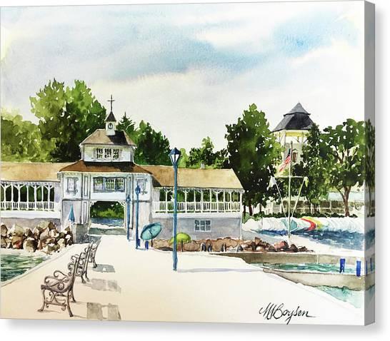 Lakeside Dock And Pavilion Canvas Print