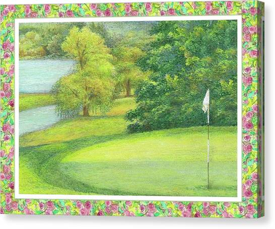 Canvas Print featuring the painting Lakeside Golfing Illustration by Judith Cheng