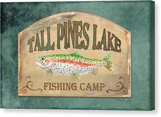Trout Canvas Print - Lakeside Lodge - Fishing Camp by Audrey Jeanne Roberts