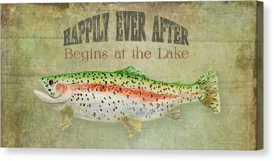 Trout Canvas Print - Lakeside Lodge - Happily Ever After by Audrey Jeanne Roberts