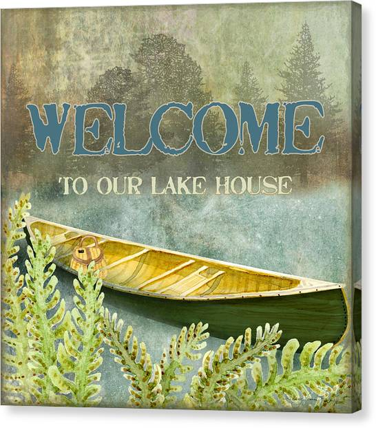 Mountain Cabin Canvas Print - Lakeside Lodge - Welcome Sign by Audrey Jeanne Roberts
