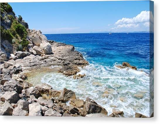 Lakka Coastline On Paxos Canvas Print