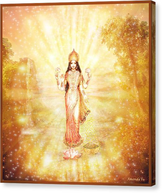 Lakshmi With The Waterfall - Light Canvas Print by Ananda Vdovic
