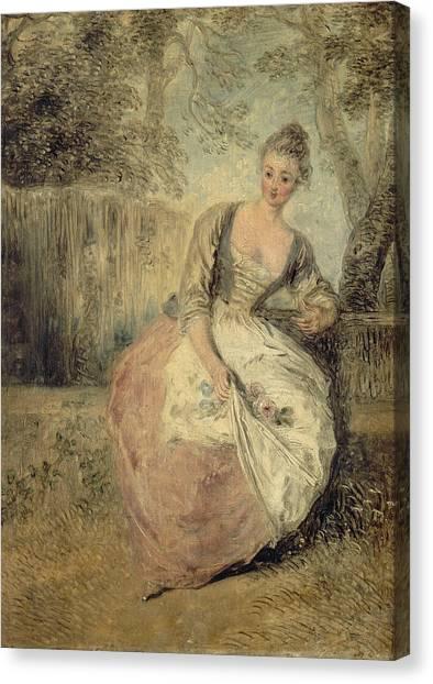 Rococo Art Canvas Print - L'amante Inquiete by Antoine Watteau