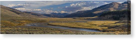 Yellowstone National Park Canvas Print - Lamar Valley Panorama by Mark Kiver