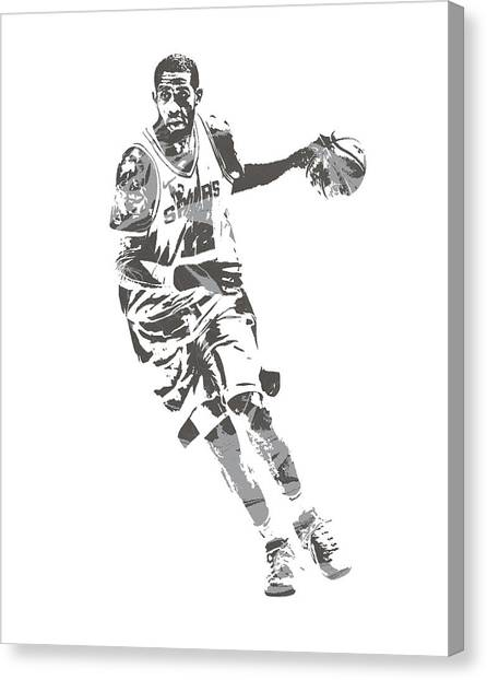 Spurs Canvas Print - Lamarcus Aldridge San Antonio Spurs Pixel Art 40 by Joe Hamilton