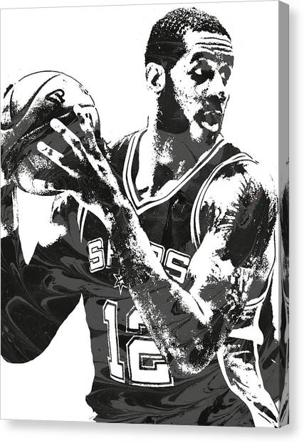 Spurs Canvas Print - Lamarcus Aldridge San Antonio Spurs Pixel Art by Joe Hamilton