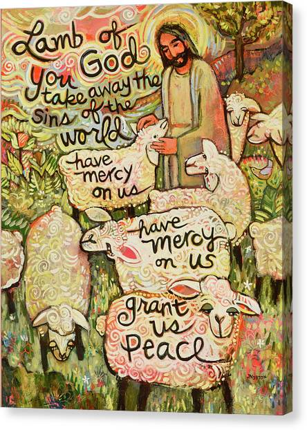 Mercy Canvas Print - Lamb Of God by Jen Norton