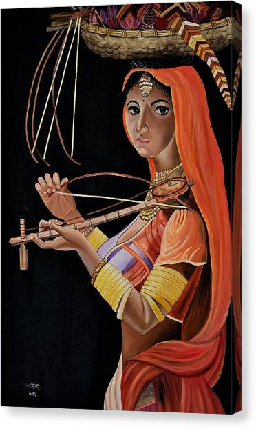 Lambani Girl Canvas Print by Usha Rai