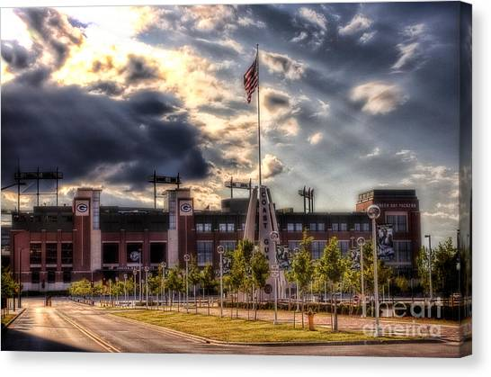 Aaron Rodgers Canvas Print - Lambeau Field Awakes by Joel Witmeyer