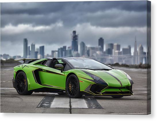 Canvas Print featuring the photograph #lamborghini #aventadorsv #superveloce #roadster #print by ItzKirb Photography