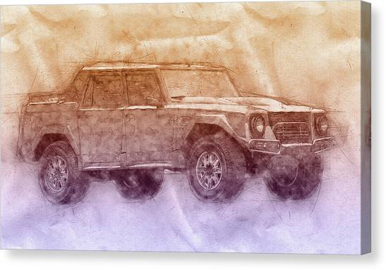 Utility Canvas Print - Lamborghini Lm002 - Sport Utility Vehicle 2 - 1986 - Automotive Art - Car Posters by Studio Grafiikka