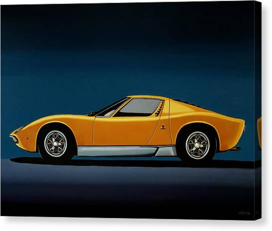 Race Cars Canvas Print - Lamborghini Miura 1966 Painting by Paul Meijering