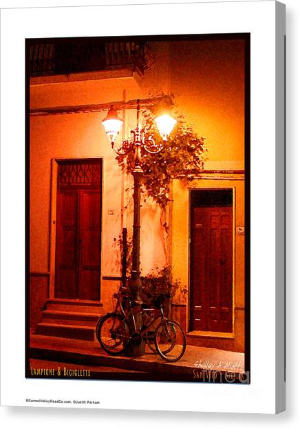 San Vito Lo Capo Canvas Print - Lampione And Biciclette by Shelley A Aliotti