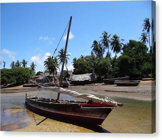 Exploramum Canvas Print - Lamu Island - Wooden Fishing Dhow And Village At Rear 2 by Exploramum Exploramum