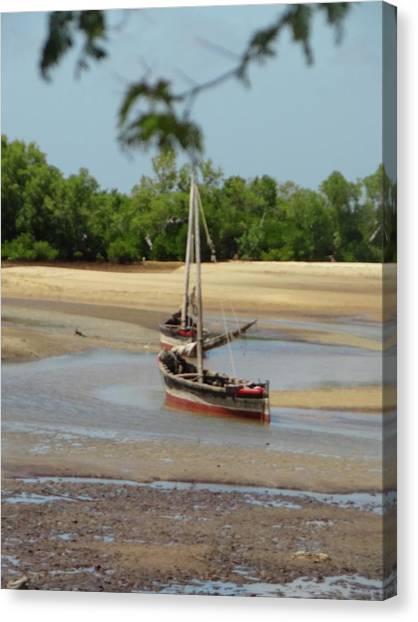 Exploramum Canvas Print - Lamu Island - Wooden Fishing Dhows At Low Tide 1 by Exploramum Exploramum