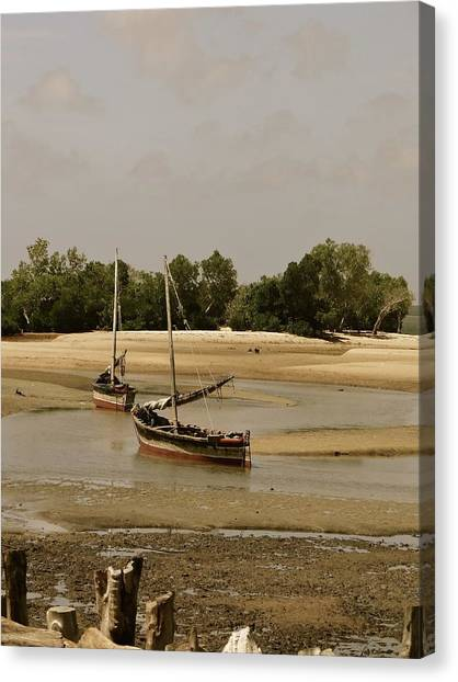 Exploramum Canvas Print - Lamu Island - Wooden Fishing Dhows At Low Tide With Pier - Antique by Exploramum Exploramum