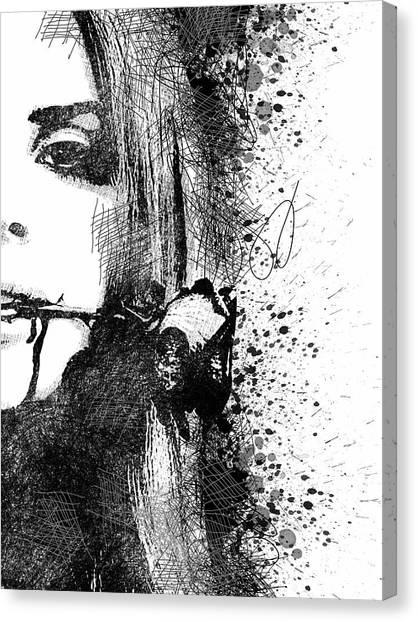 Lana Del Rey Half Face Portrait 2 Canvas Print