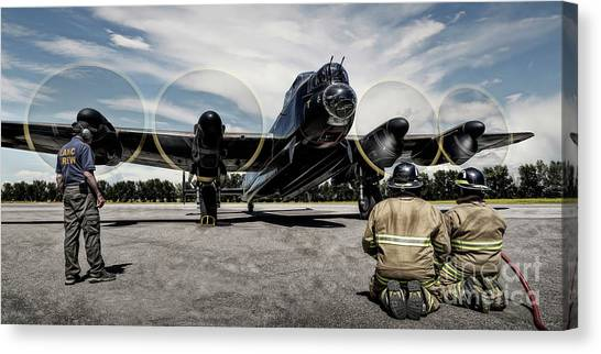 Canvas Print featuring the photograph Lancaster Engine Test by Brad Allen Fine Art