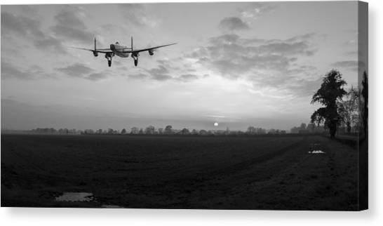 Call Of Duty Canvas Print - Lancaster Sunset Black And White Version by Gary Eason