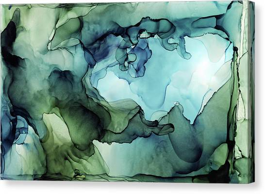 Ink Canvas Print - Land And Water Abstract Ink Painting by Olga Shvartsur