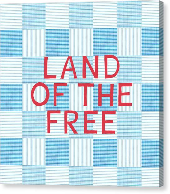 Flags Canvas Print - Land Of The Free by Linda Woods