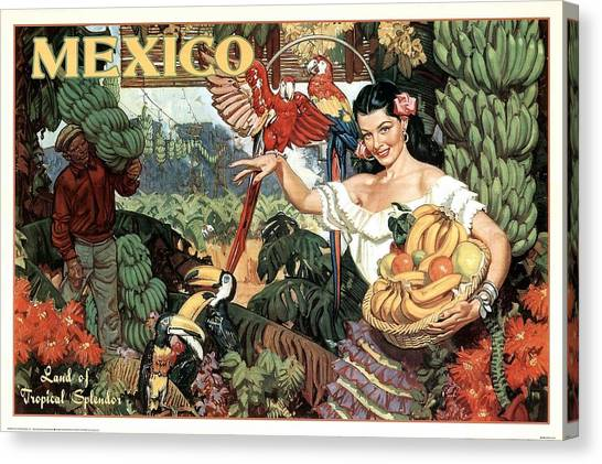 Fruit Baskets Canvas Print - Land Of Tropical Splendor, Mexico - Retro Travel Poster - Vintage Poster by Studio Grafiikka
